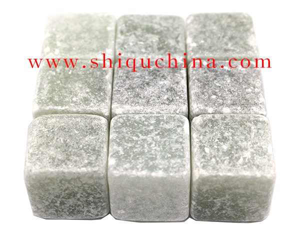 white soap stone whiskey rock 9pcsset