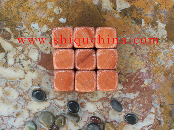 red marble whiskey stone 9pcs set